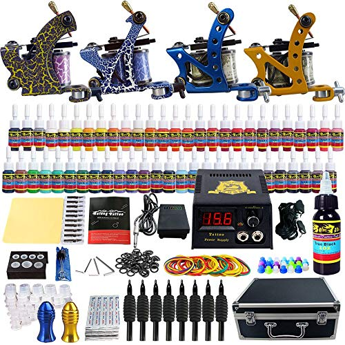 Solong Tattoo Complete Tattoo Kit with 4 Pro Machine Guns