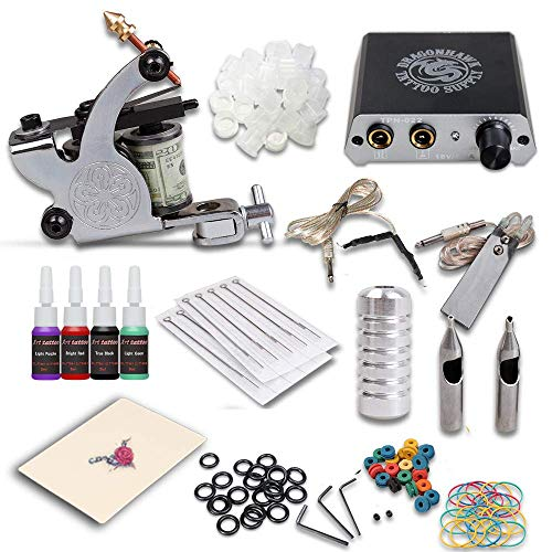 DragonHawk Complete Tattoo Kit Machines Color Inks