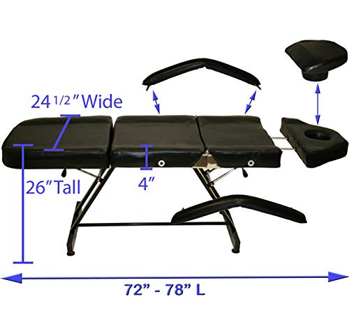 InkBed Black Stationary Adjustable Tattoo Chair