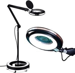 Brightech Pro 6 Wheel Rolling Base Magnifying Lamp
