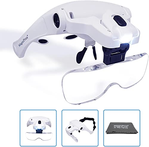 MagniPros LED Headband Magnifier Visor Lamp
